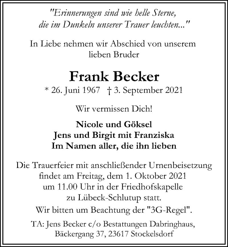 Traueranzeige für Frank Becker vom 12.09.2021 aus Lübecker Nachrichten