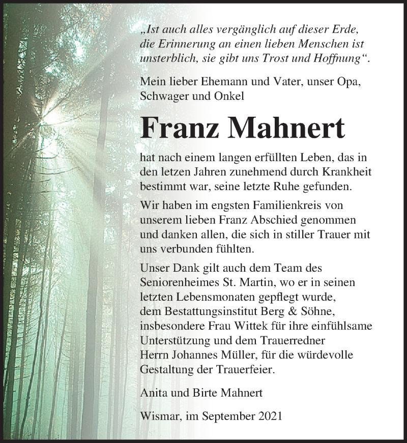 Traueranzeige für Franz Mahnert vom 11.09.2021 aus Ostsee-Zeitung GmbH