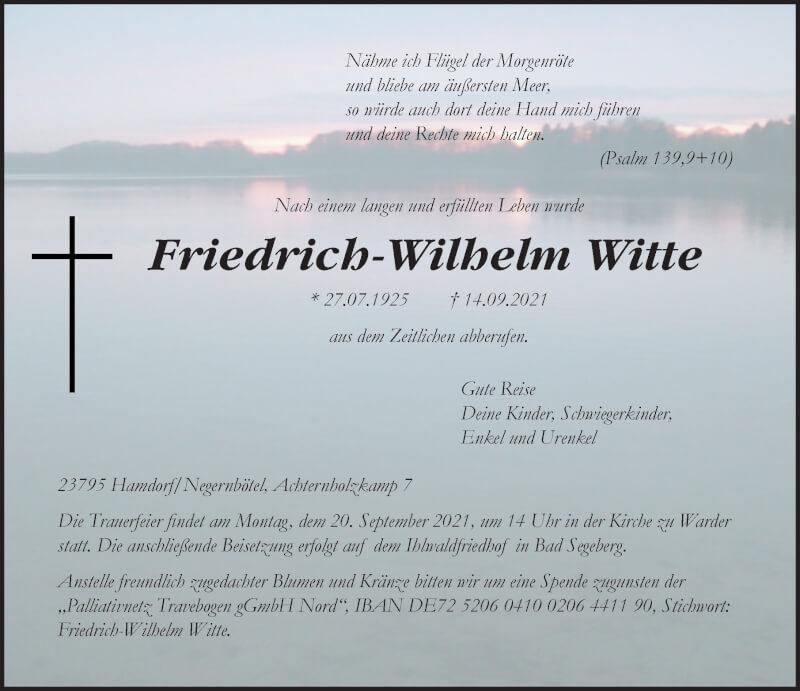 Traueranzeige für Friedrich-Wilhelm Witte vom 17.09.2021 aus Lübecker Nachrichten
