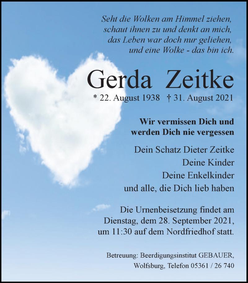 Traueranzeige für Gerda Zeitke vom 11.09.2021 aus Aller Zeitung