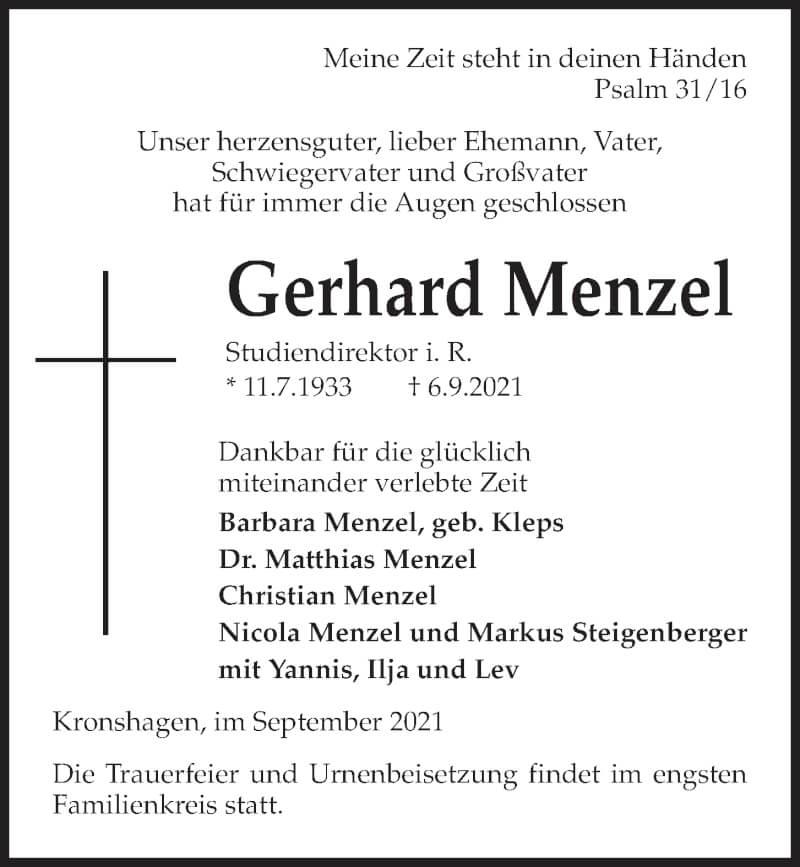 Traueranzeige für Gerhard Menzel vom 18.09.2021 aus Kieler Nachrichten