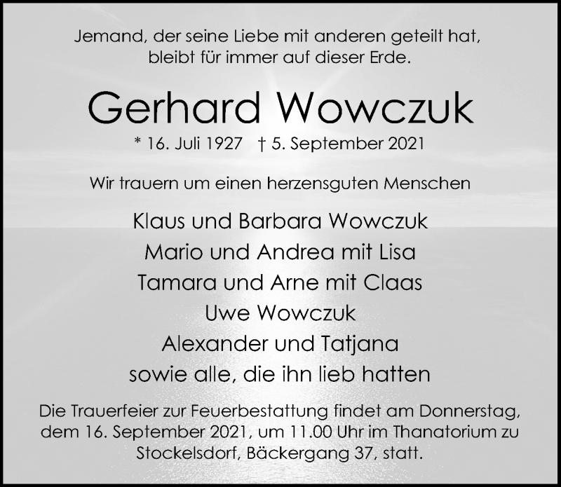 Traueranzeige für Gerhard Wowczuk vom 12.09.2021 aus Lübecker Nachrichten