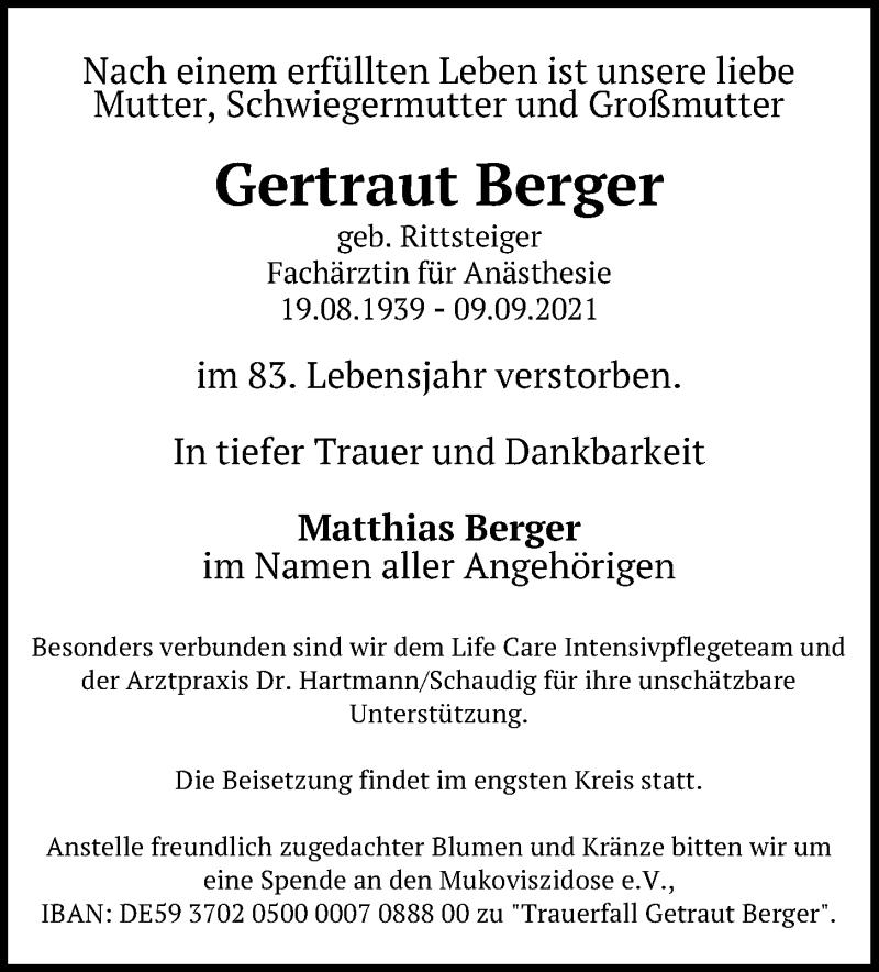 Traueranzeige für Gertraut Berger vom 11.09.2021 aus Kieler Nachrichten