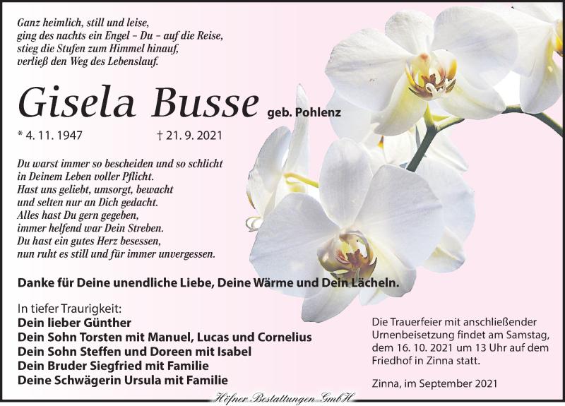 Traueranzeige für Gisela Busse vom 25.09.2021 aus Torgauer Zeitung