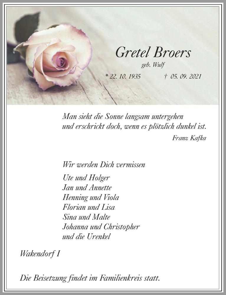 Traueranzeige für Gretel Broers vom 11.09.2021 aus Lübecker Nachrichten
