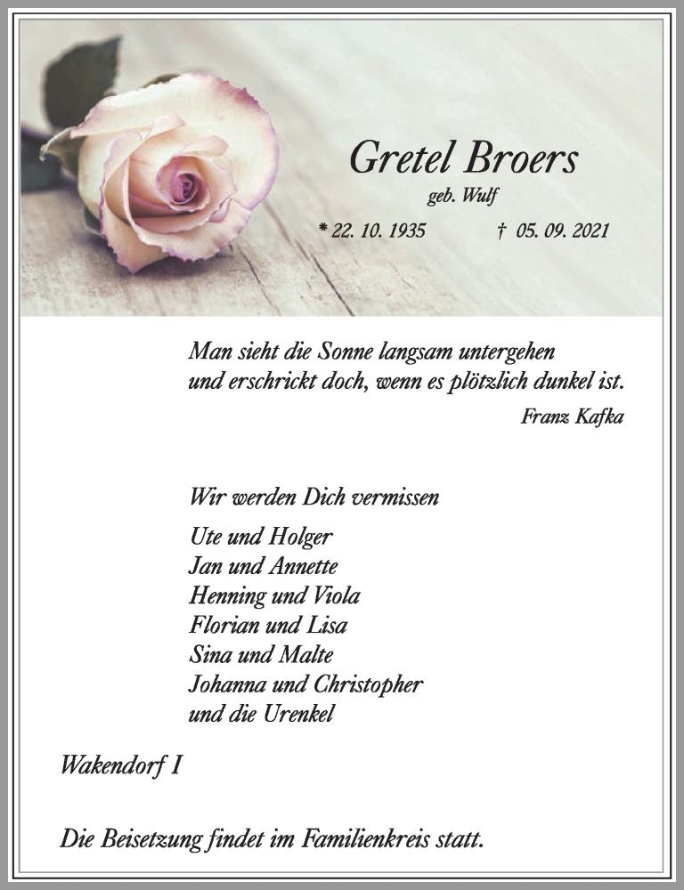 Traueranzeige für Gretel Broers vom 11.09.2021 aus Kieler Nachrichten