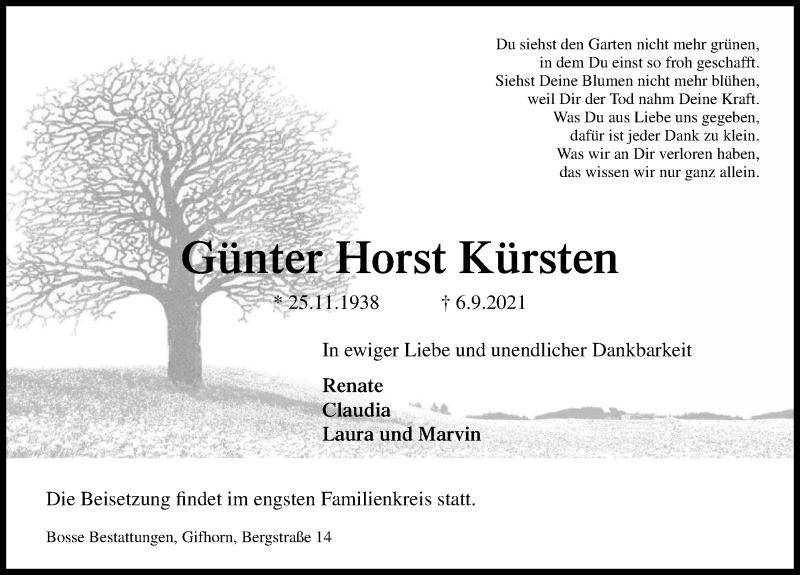Traueranzeige für Günter Horst Kürsten vom 11.09.2021 aus Aller Zeitung