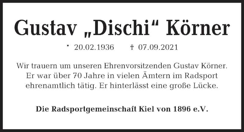 Traueranzeige für Gustav Körner vom 18.09.2021 aus Kieler Nachrichten