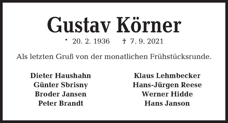 Traueranzeige für Gustav Körner vom 11.09.2021 aus Kieler Nachrichten