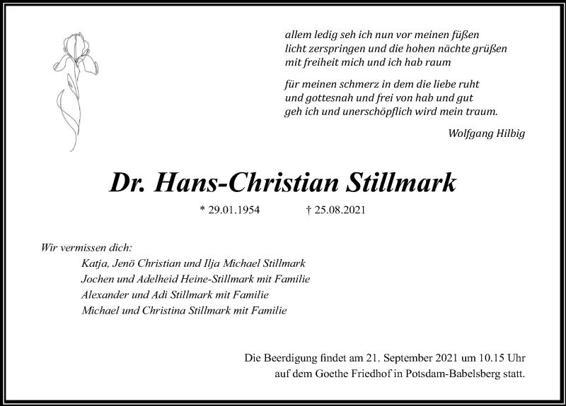 Traueranzeige für Hans-Christian Stillmark vom 11.09.2021 aus Märkischen Allgemeine Zeitung