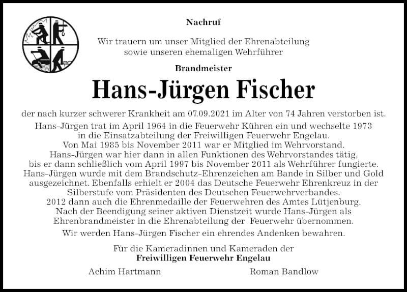 Traueranzeige für Hans-Jürgen Fischer vom 18.09.2021 aus Kieler Nachrichten