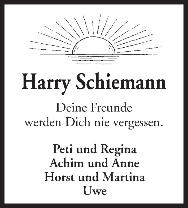 Traueranzeige für Harry Schiemann vom 11.09.2021 aus Kieler Nachrichten