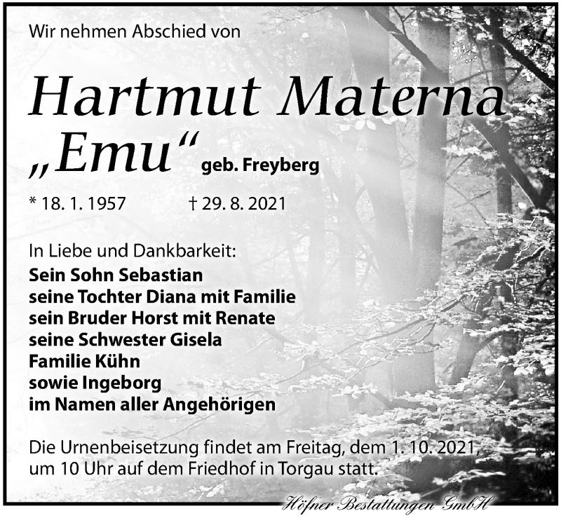 Traueranzeige für Hartmut Materna vom 11.09.2021 aus Torgauer Zeitung