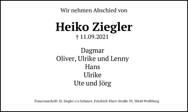 Traueranzeige für Heiko Ziegler vom 15.09.2021 aus Aller Zeitung