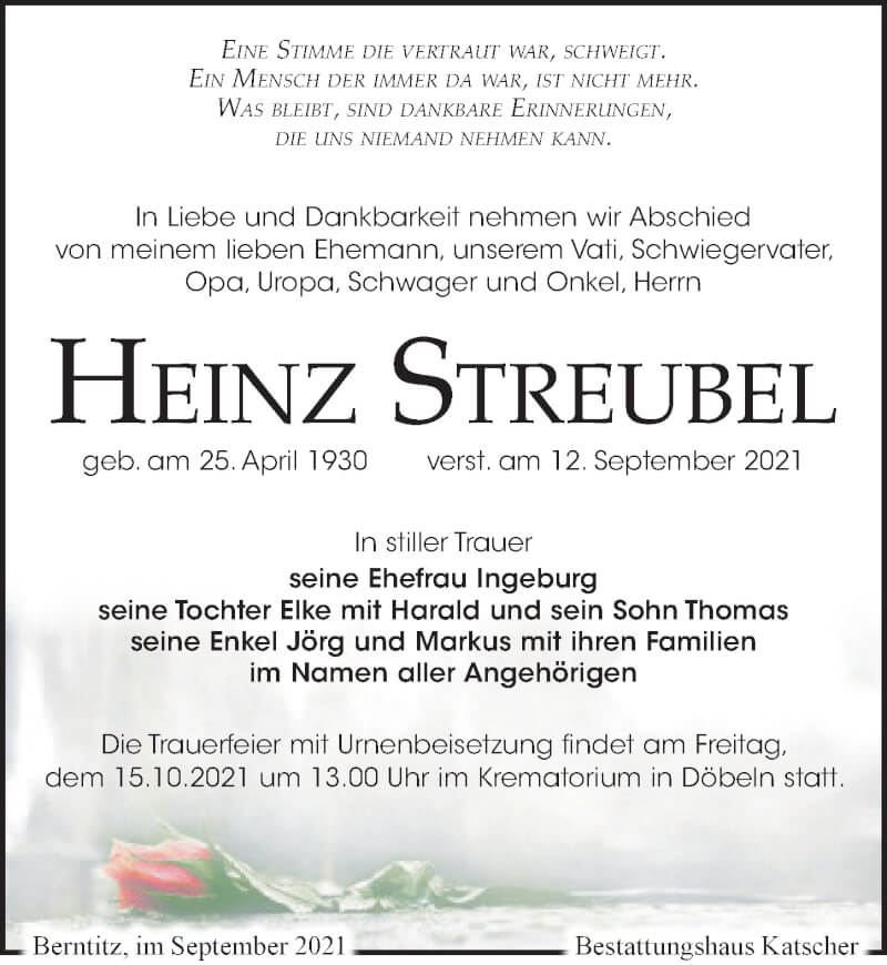 Traueranzeige für Heinz Streubel vom 18.09.2021 aus Leipziger Volkszeitung
