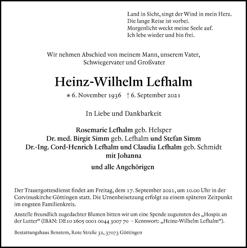 Traueranzeige für Heinz-Wilhelm Lefhalm vom 11.09.2021 aus Göttinger Tageblatt
