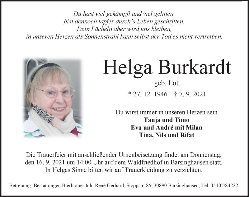 Traueranzeige für Helga Burkardt vom 11.09.2021 aus Hannoversche Allgemeine Zeitung/Neue Presse