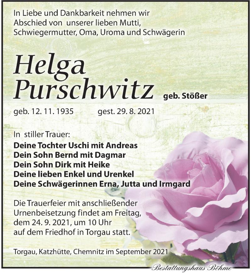 Traueranzeige für Helga Purschwitz vom 11.09.2021 aus Torgauer Zeitung