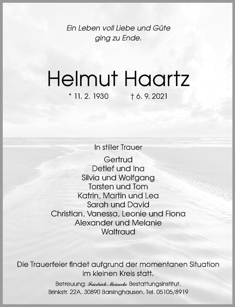 Traueranzeige für Helmut Haartz vom 11.09.2021 aus Hannoversche Allgemeine Zeitung/Neue Presse