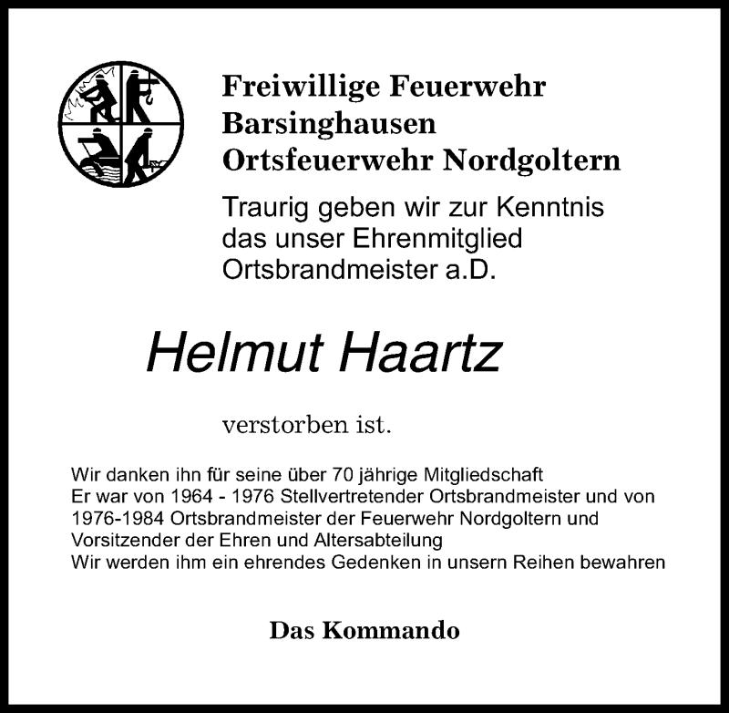 Traueranzeige für Helmut Haartz vom 13.09.2021 aus Hannoversche Allgemeine Zeitung/Neue Presse