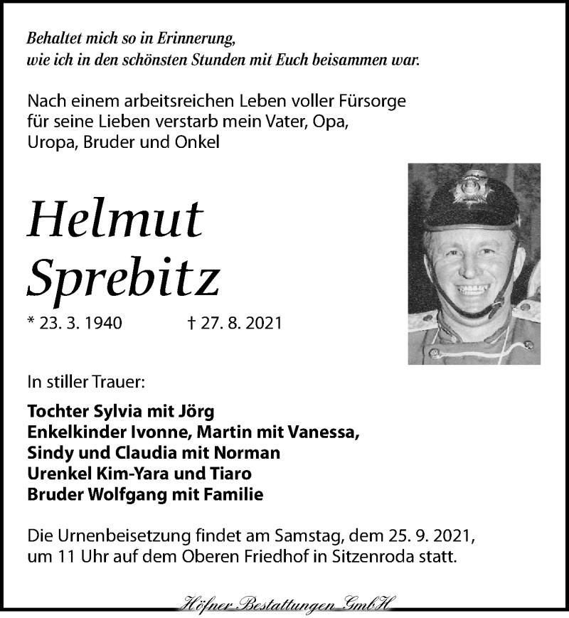 Traueranzeige für Helmut Sprebitz vom 11.09.2021 aus Torgauer Zeitung