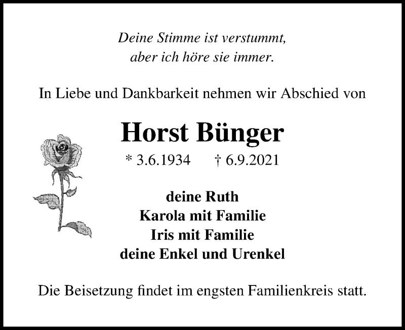 Traueranzeige für Horst Bünger vom 11.09.2021 aus Märkischen Allgemeine Zeitung