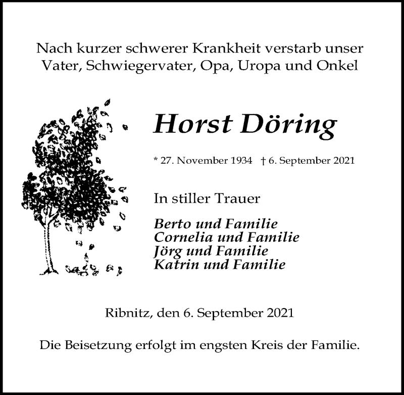Traueranzeige für Horst Döring vom 11.09.2021 aus Ostsee-Zeitung GmbH
