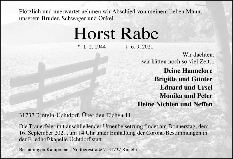 Traueranzeige für Horst Rabe vom 10.09.2021 aus Schaumburger Nachrichten