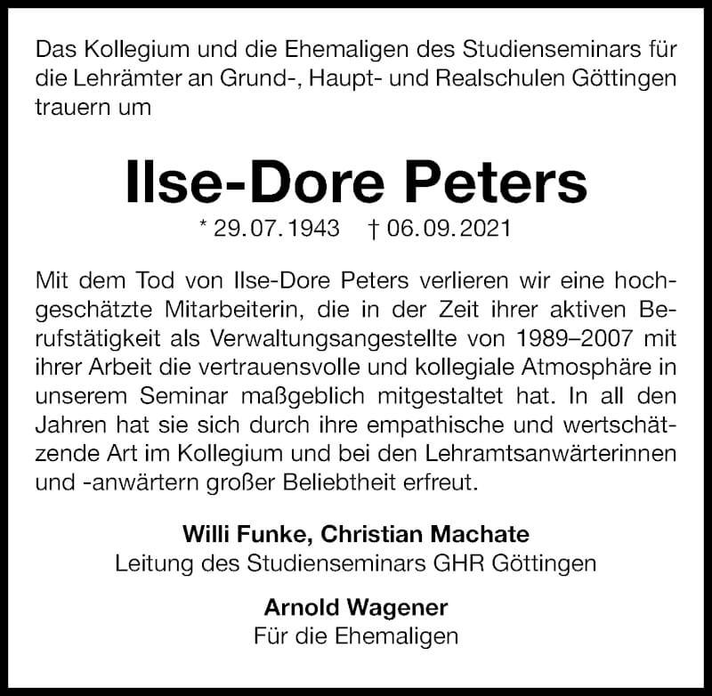 Traueranzeige für Ilse-Dore Peters vom 18.09.2021 aus Göttinger Tageblatt