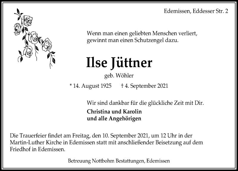 Traueranzeige für Ilse Jüttner vom 08.09.2021 aus Peiner Allgemeine Zeitung