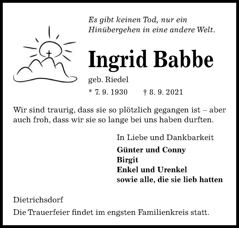 Traueranzeige für Ingrid Babbe vom 11.09.2021 aus Kieler Nachrichten