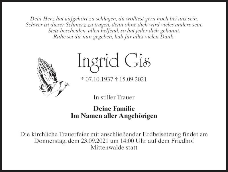 Traueranzeige für Ingrid Gis vom 18.09.2021 aus Märkischen Allgemeine Zeitung