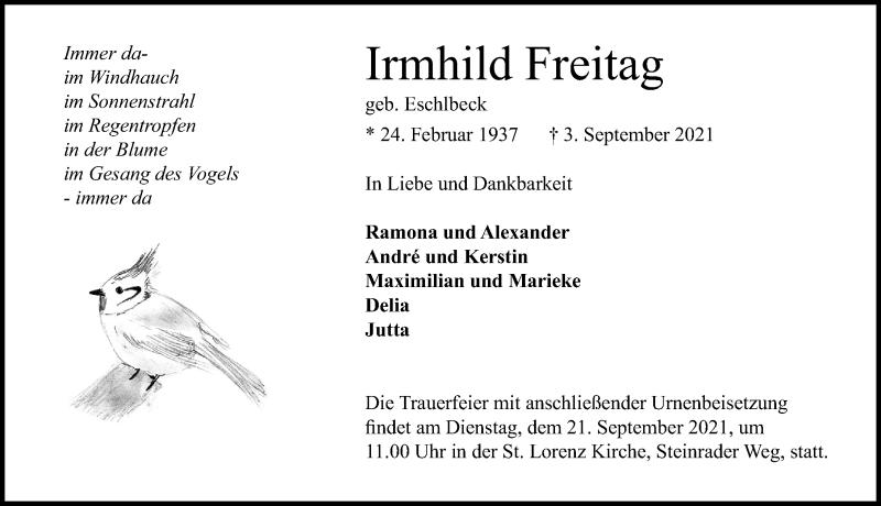 Traueranzeige für Irmhild Freitag vom 12.09.2021 aus Lübecker Nachrichten
