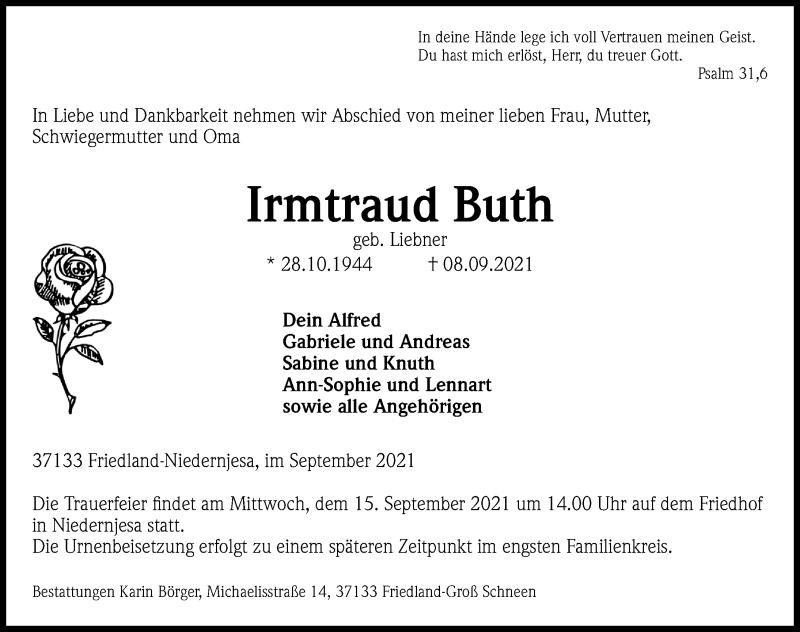 Traueranzeige für Irmtraud Buth vom 11.09.2021 aus Göttinger Tageblatt