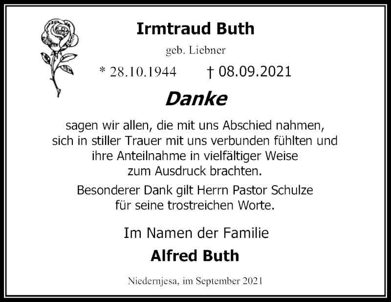 Traueranzeige für Irmtraud Buth vom 18.09.2021 aus Göttinger Tageblatt