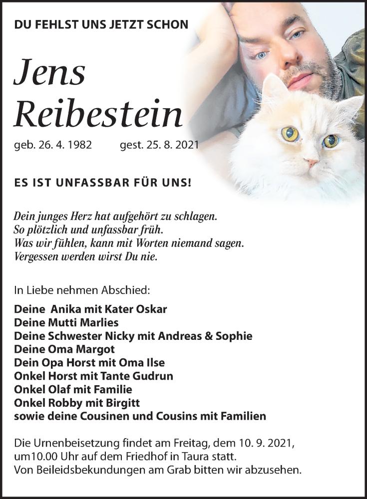 Traueranzeige für Jens Reibestein vom 08.09.2021 aus Torgauer Zeitung