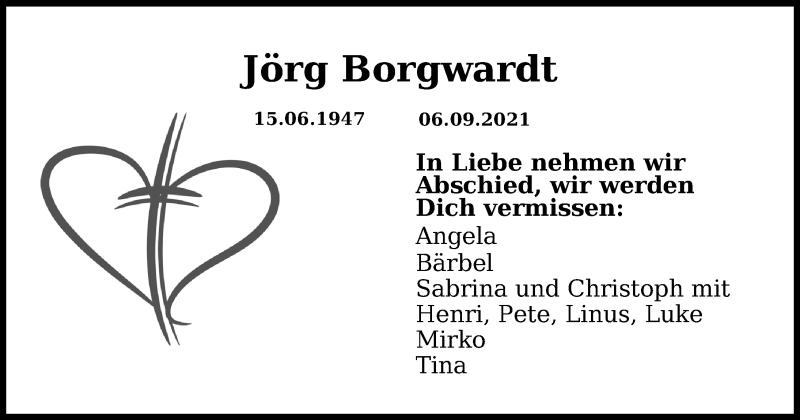 Traueranzeige für Jörg Borgwardt vom 12.09.2021 aus Lübecker Nachrichten