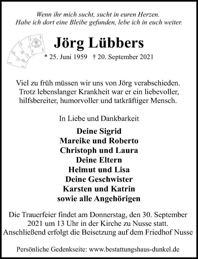 Traueranzeige von  Jörg Lübbers