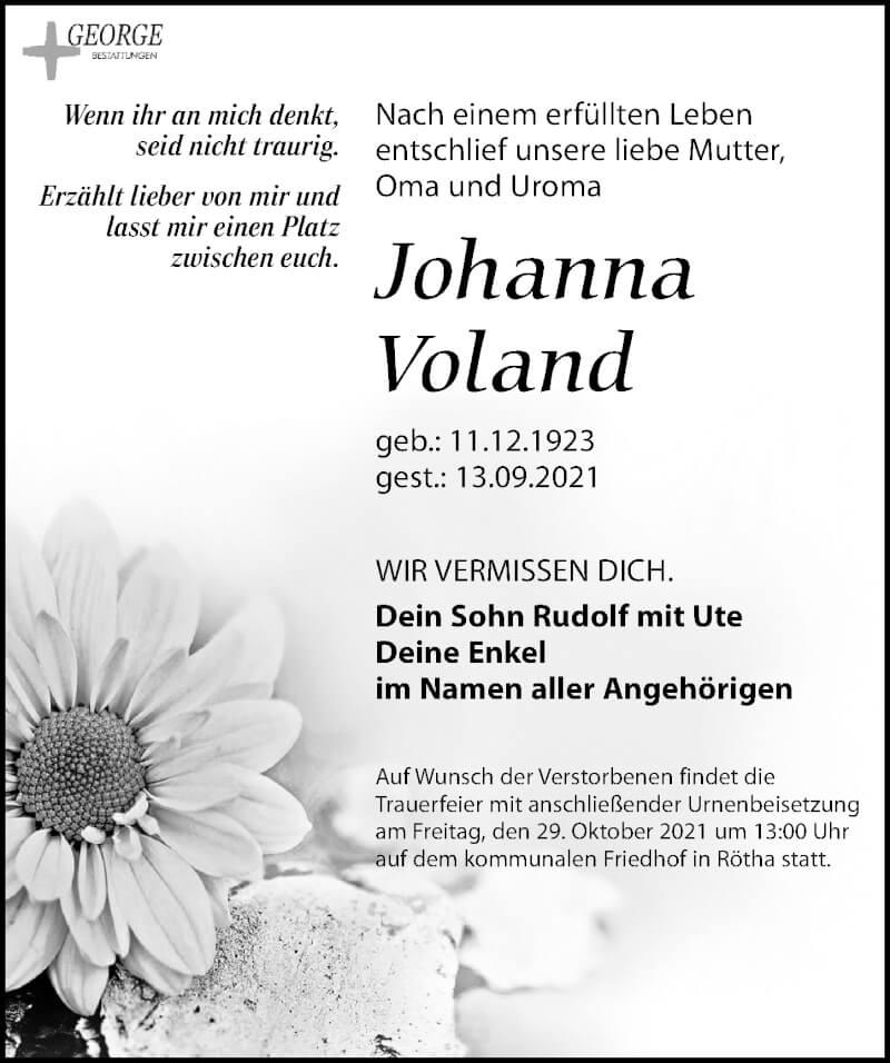 Traueranzeige für Johanna Voland vom 18.09.2021 aus Leipziger Volkszeitung