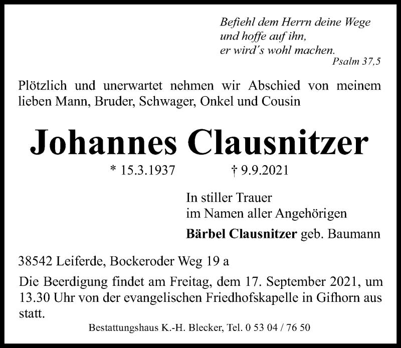 Traueranzeige für Johannes Clausnitzer vom 14.09.2021 aus Aller Zeitung