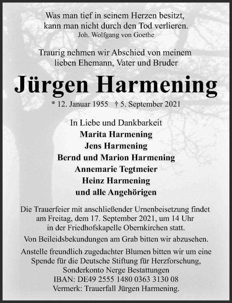 Traueranzeige für Jürgen Harmening vom 11.09.2021 aus Schaumburger Nachrichten