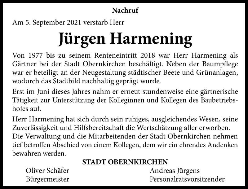 Traueranzeige für Jürgen Harmening vom 16.09.2021 aus Schaumburger Nachrichten