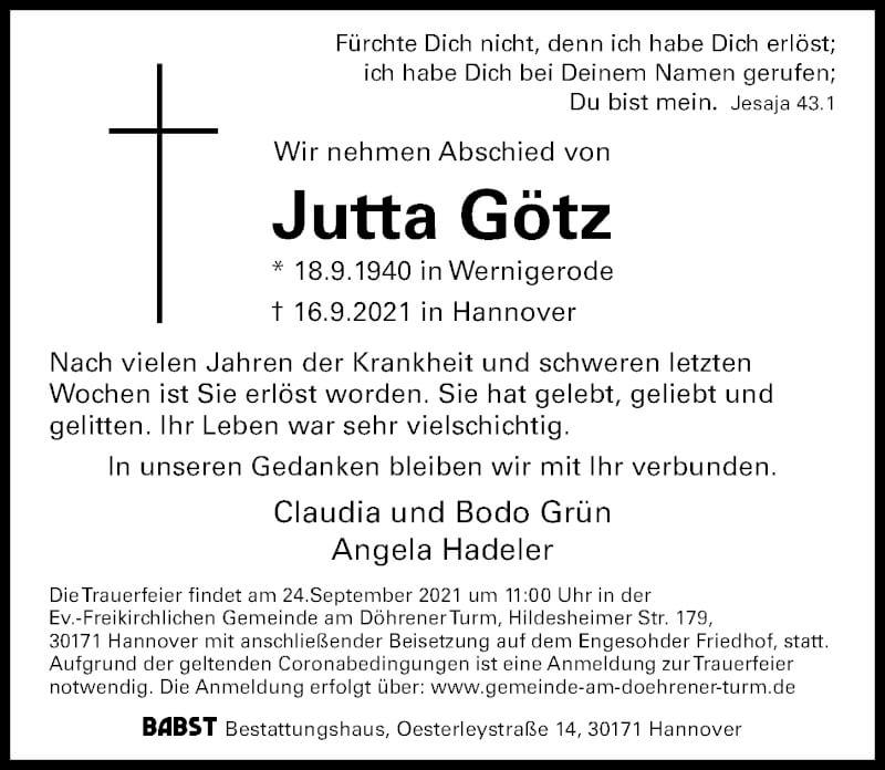Traueranzeige für Jutta Götz vom 18.09.2021 aus Hannoversche Allgemeine Zeitung/Neue Presse