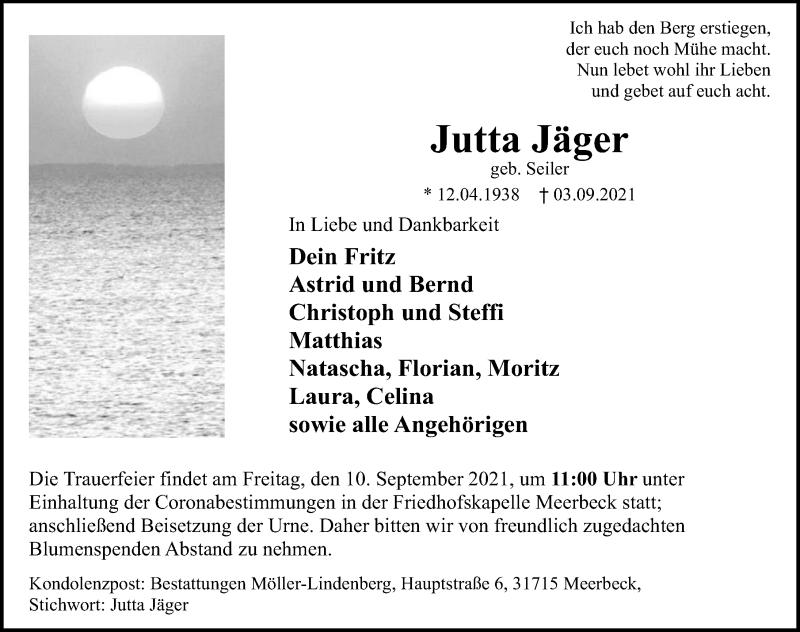 Traueranzeige für Jutta Jäger vom 07.09.2021 aus Schaumburger Nachrichten