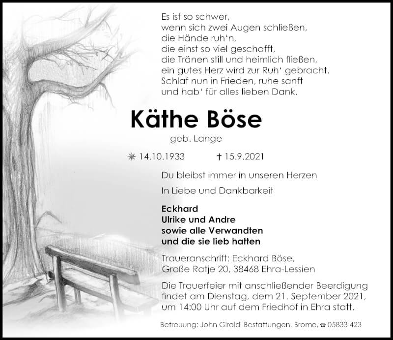 Traueranzeige für Käthe Böse vom 18.09.2021 aus Aller Zeitung