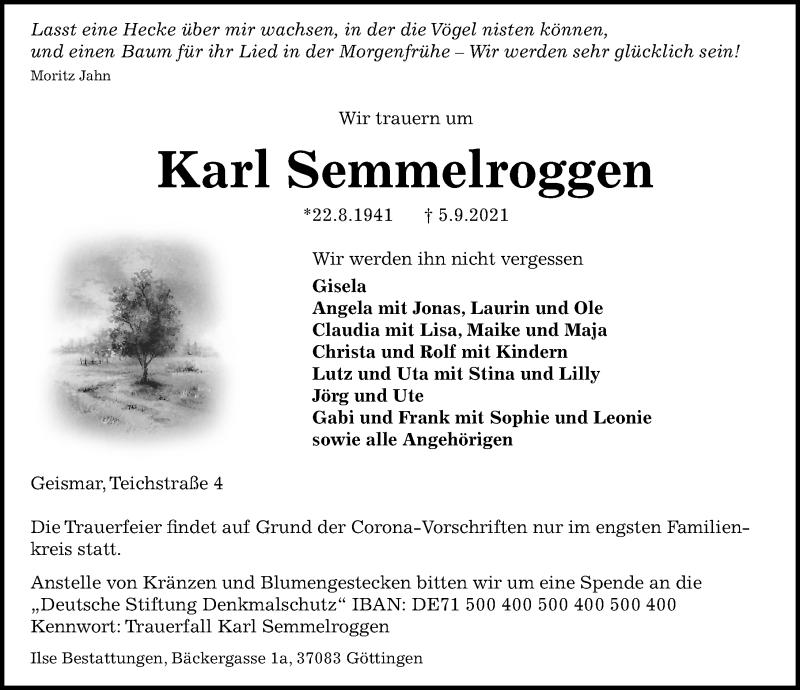 Traueranzeige für Karl Semmelroggen vom 11.09.2021 aus Göttinger Tageblatt