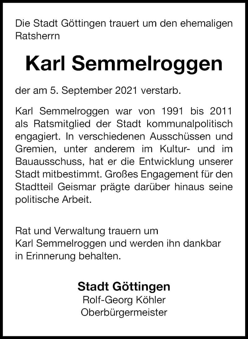 Traueranzeige für Karl Semmelroggen vom 18.09.2021 aus Göttinger Tageblatt