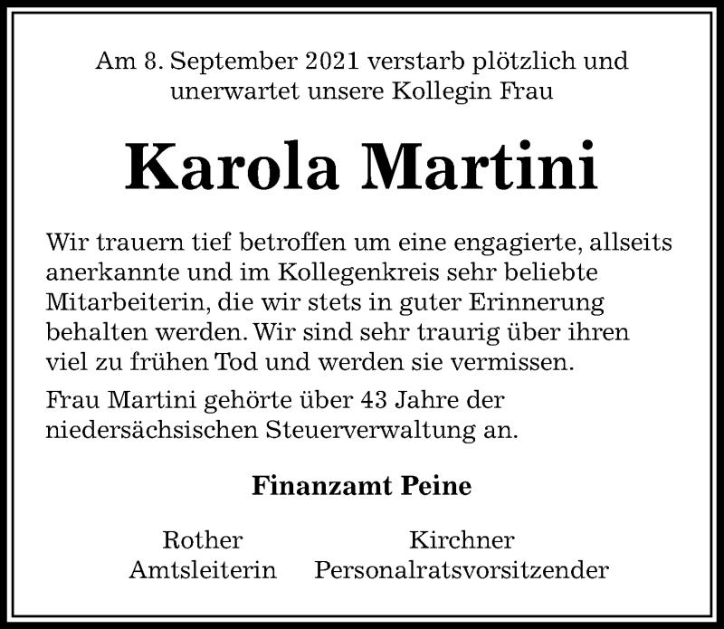 Traueranzeige für Karola Martini vom 16.09.2021 aus Peiner Allgemeine Zeitung