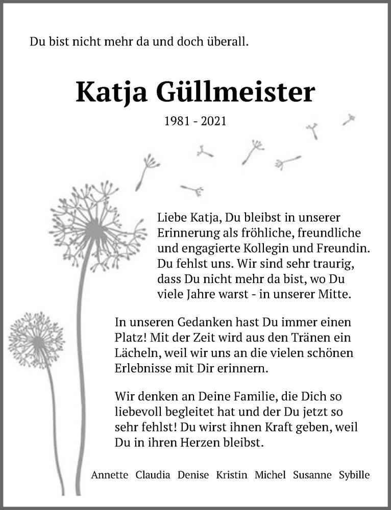 Traueranzeige für Katja Güllmeister vom 11.09.2021 aus Märkischen Allgemeine Zeitung