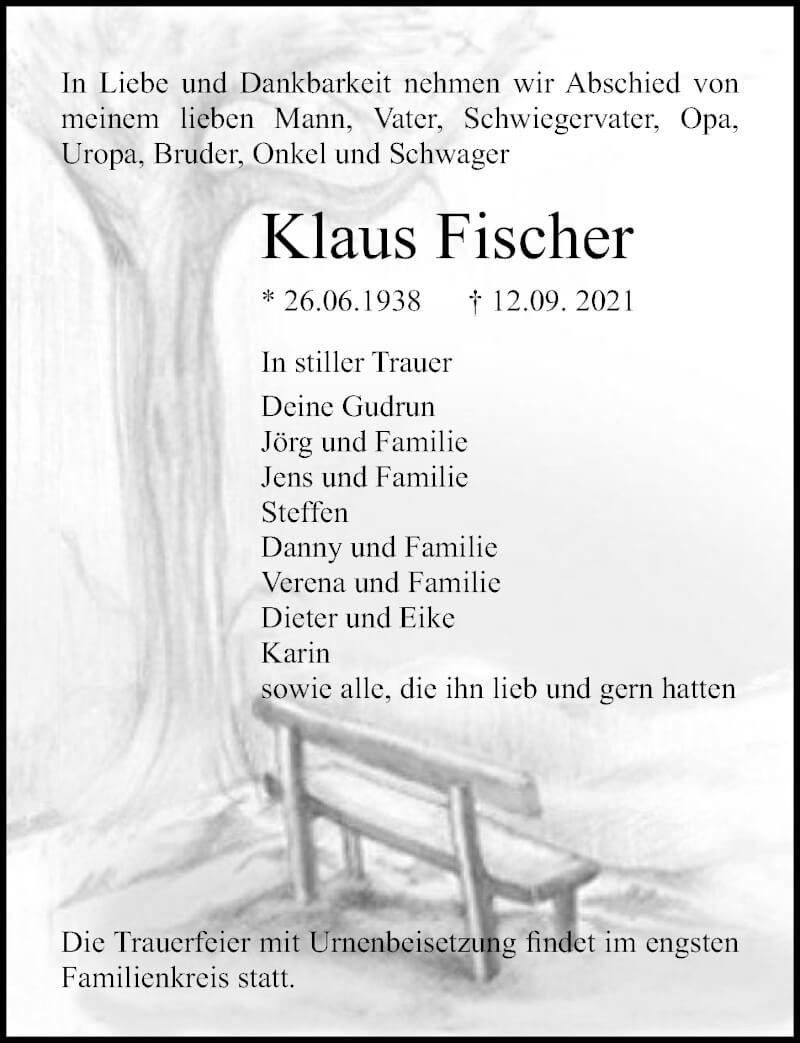 Traueranzeige für Klaus Fischer vom 18.09.2021 aus Ostsee-Zeitung GmbH